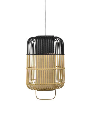 Suspension Bamboo Square / Large - H 61 cm - Forestier noir,bambou naturel en bois