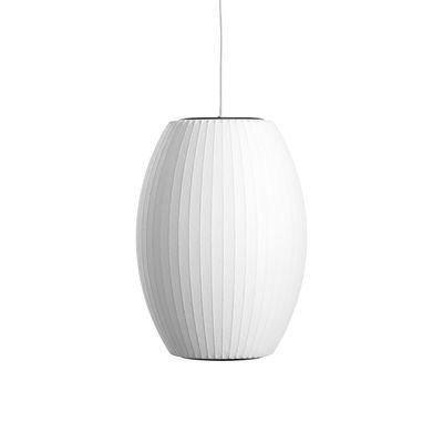 Luminaire - Suspensions - Suspension Bubble Cigar / Small - Motifs verticaux - Hay - H 35 cm / Blanc cassé -  Toile polymère, Acier