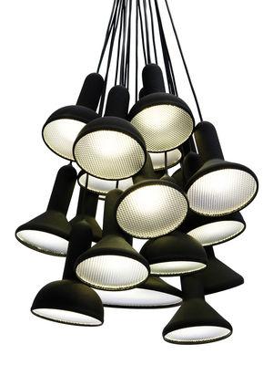Luminaire - Suspensions - Suspension Torch Light / 20 abat-jours - Established & Sons - Noir / Câbles noirs - Polycarbonate, PVC finition soft touch