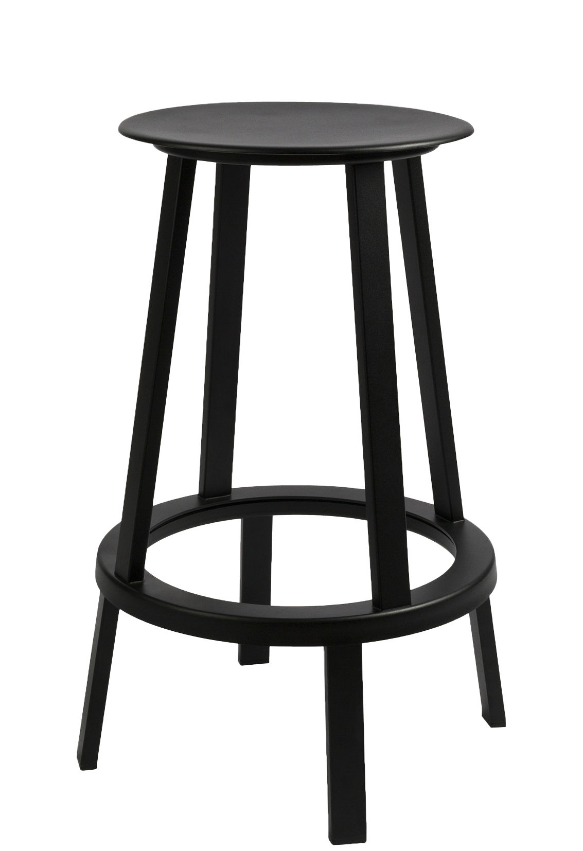 Furniture - Bar Stools - Revolver Swivel bar stool - H 65 cm - Metal by Hay - Black - Steel xith epowy paint