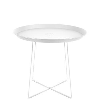 Table basse Plat-o / Plateau amovible - Ø 56 x H 46 cm - Fatboy blanc en métal