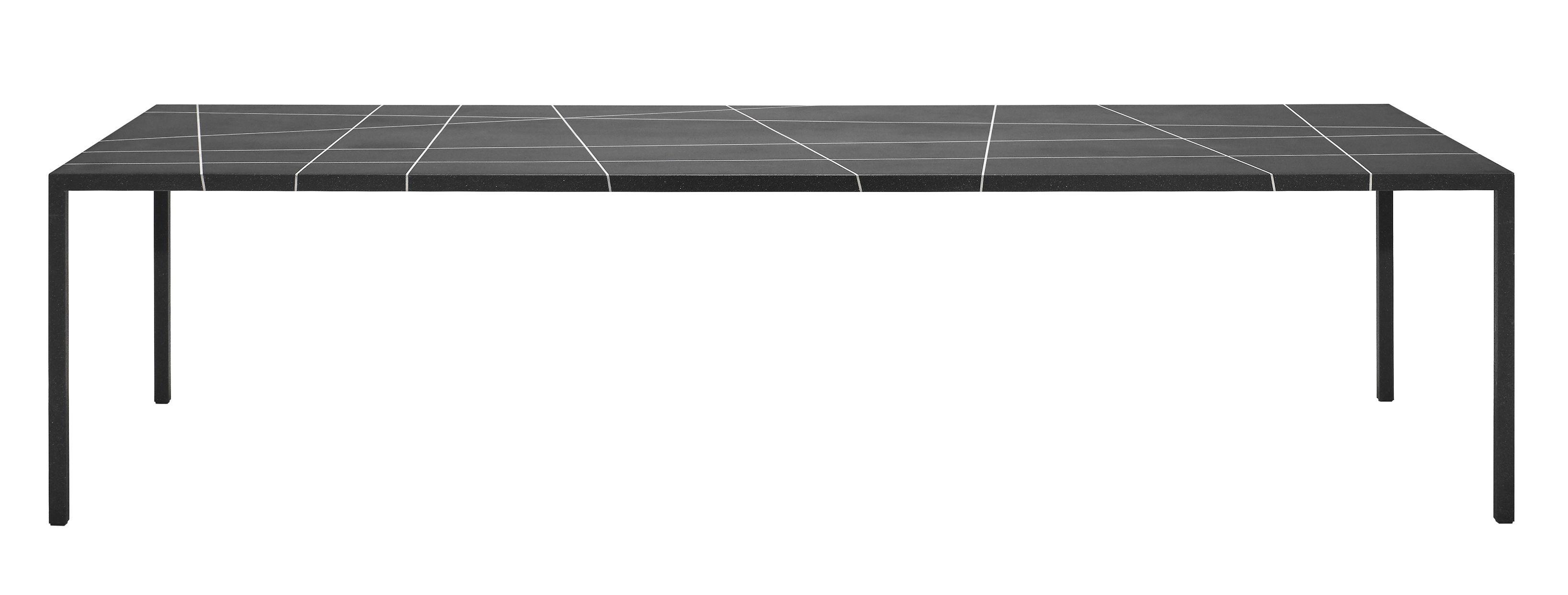 Mobilier - Tables - Table rectangulaire Tense Material / 90 x 220 cm - Marbre - MDF Italia - Marbre noir / Lignes blanches - Acier, Marbre reconstitué, Panneau composite