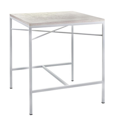 Jardin - Tables de jardin - Table Terrazzo / 70 x 70 cm - Serax - Terrazzo blanc / Pied blanc - Acier thermolaqué, Terrazzo
