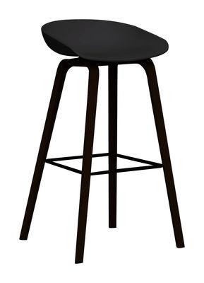 Tabouret de bar About a stool AAS 32 / H 75 cm - Plastique & pieds bois - Hay noir en matière plastique