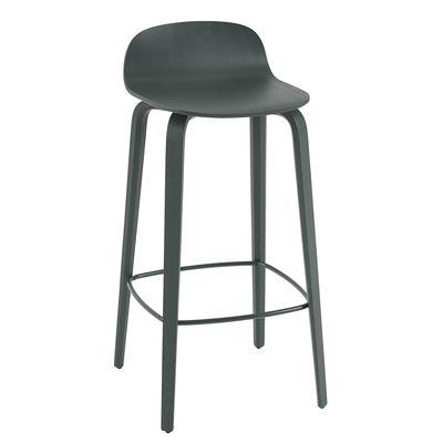 Mobilier - Tabourets de bar - Tabouret de bar Visu / Bois - H 75 cm - Muuto - Vert foncé / Repose-pieds vert - Acier verni, Contreplaqué de chêne