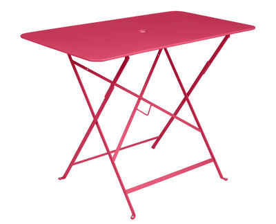 Outdoor - Tavoli  - Tavolo pieghevole Bistro - / 97 x 57 cm - 4 persone - Foro per parasole di Fermob - Rosa pralina - Acciaio verniciato