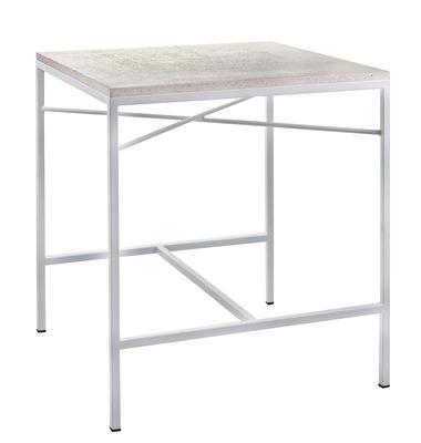 Outdoor - Tables de jardin - Table carrée Terrazzo / 70 x 70 cm - Serax - Terrazzo blanc / Pied blanc - Acier thermolaqué, Terrazzo