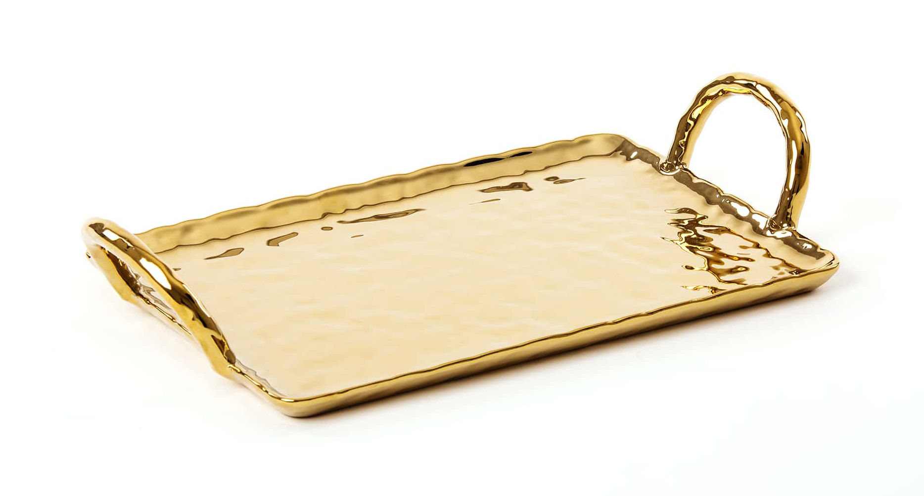 Tableware - Trays - Fingers Tray - / 33 x 20 cm by Seletti - Gold - China