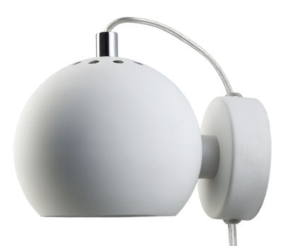 Lighting - Wall Lights - Ball Wall light with plug by Frandsen - White matt - Varnished metal