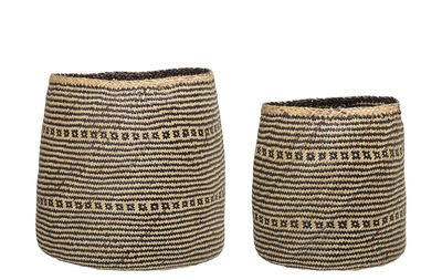 Decoration - Boxes & Baskets - Basket - / Set of 2 - Seagrass by Bloomingville - Natural & black - Seagrass