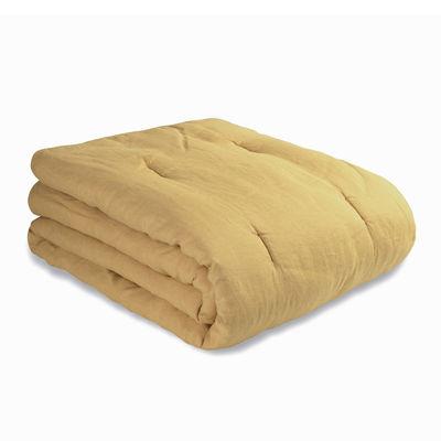 Decoration - Cushions & Poufs - Bedspread 90 x 220 cm - / 90 x 220 cm - Quilted / Washed linen by Au Printemps Paris - Ochre - Polyester, washed linen