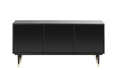 Buffet Enfilade Miroir / Laqué - L 159 x H 79 cm - RED Edition noir,laiton en verre