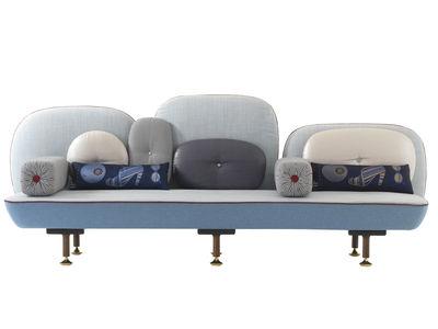 Mobilier - Canapés - Canapé droit My Beautiful Backside / L 261 cm - Moroso - Bleu clair - Laine, Métal, Noyer
