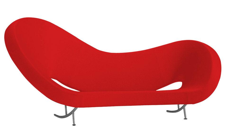 Mobilier - Canapés - Canapé droit Victoria and Albert / Modèle 2 - L 297 cm - Moroso - Tissu rouge - Gauche - Acier chromé