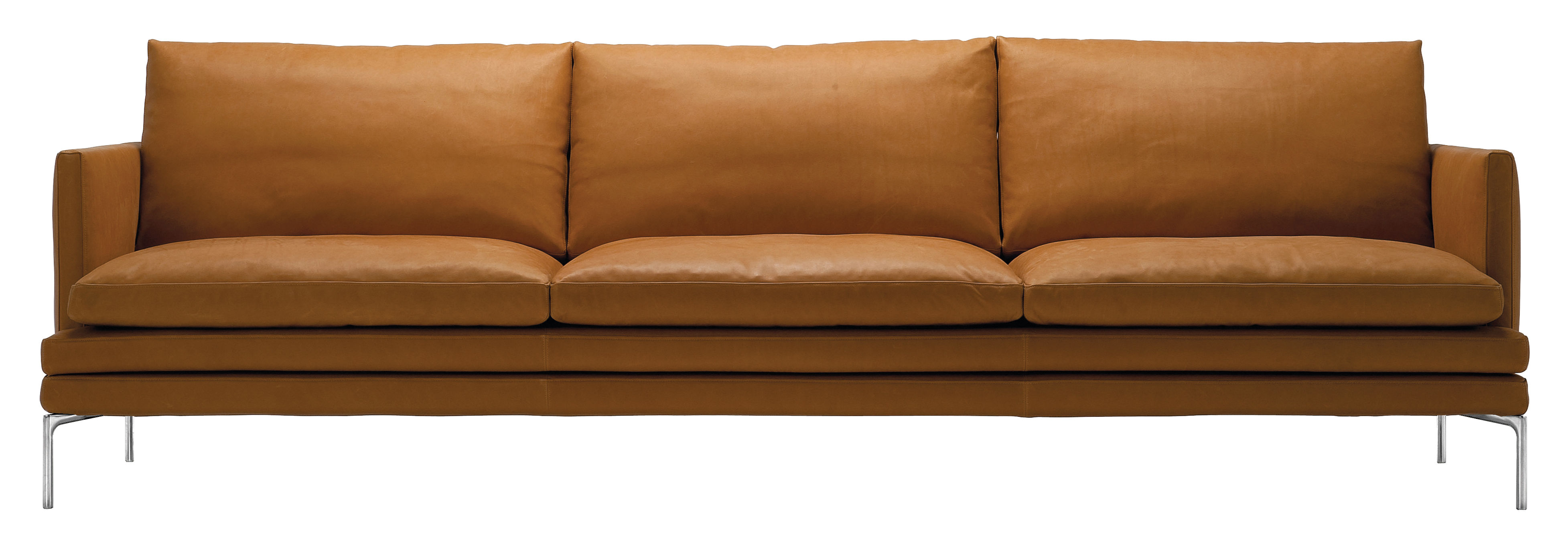 Mobilier - Canapés - Canapé droit William / Cuir - 3 places - L 266 cm - Zanotta - Marron clair Gold - Aluminium poli, Cuir