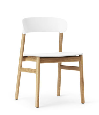 Furniture - Chairs - Herit Chair - / Oak foot by Normann Copenhagen - White / Oak - Oak, Polypropylene