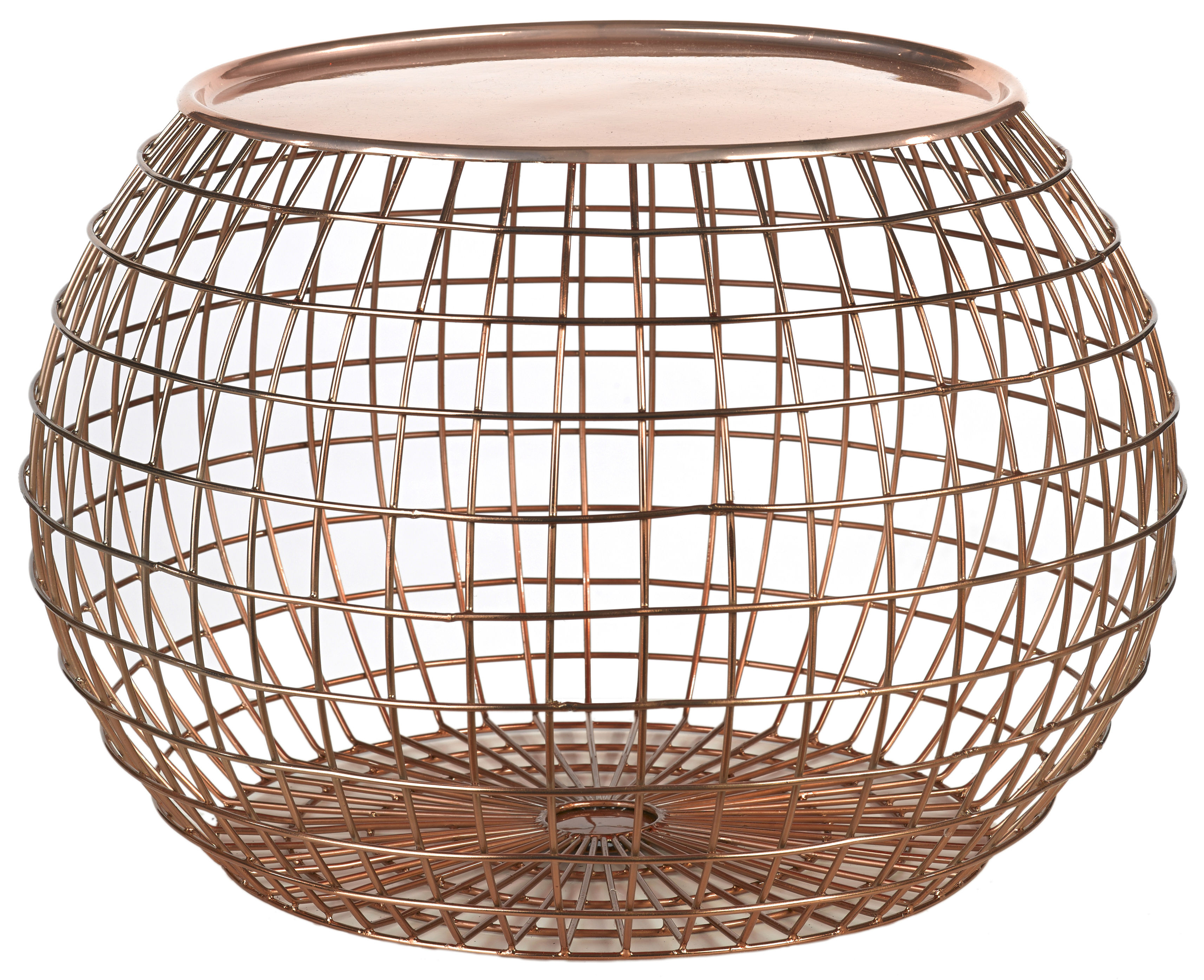 Furniture - Coffee Tables - Ball Wire Coffee table - Removable tray - Ø 50 x H 32cm by Pols Potten - Copper - Fil de fer peint, Painted iron