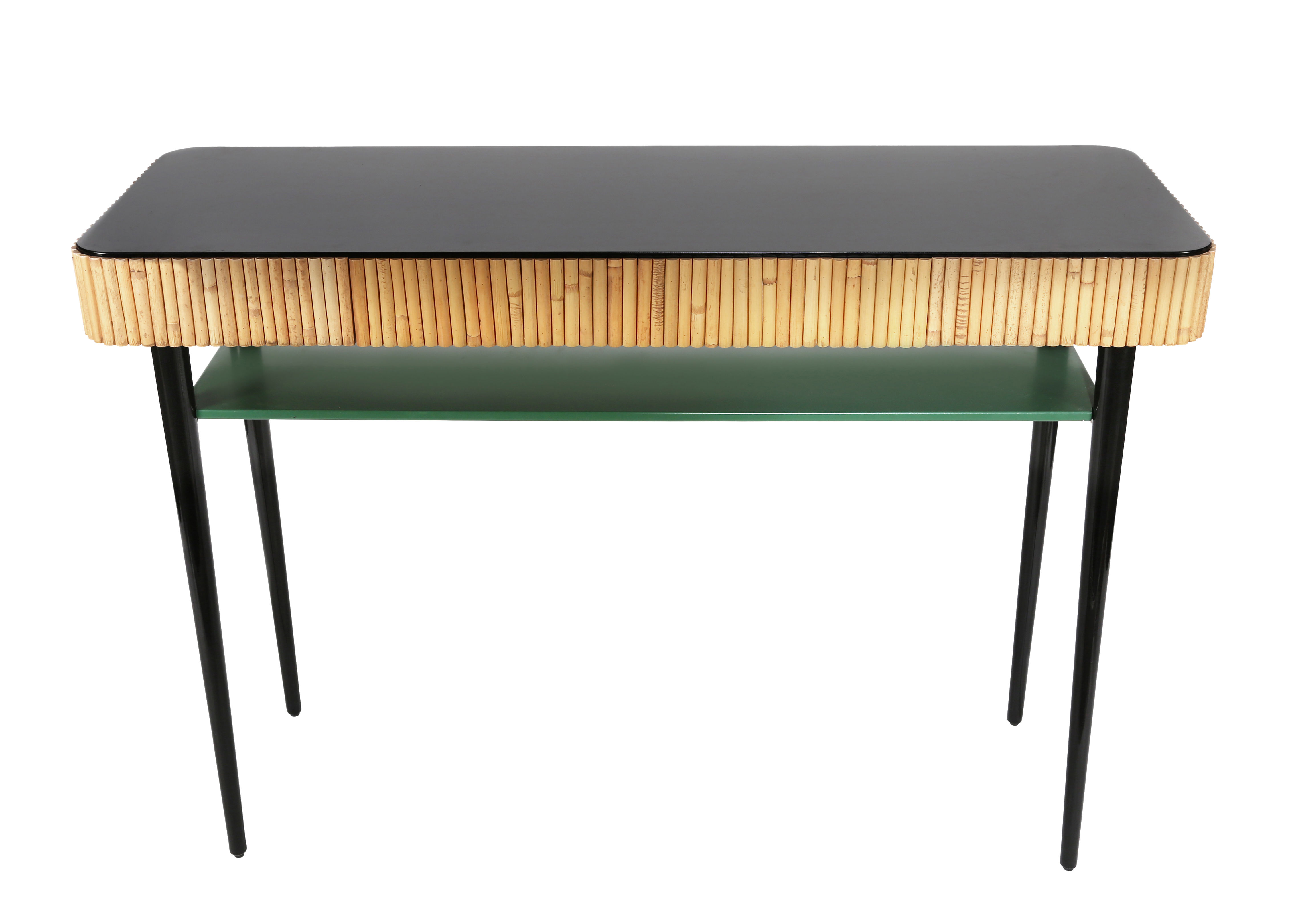 Furniture - Console Tables - Riviera Console - / Rattan - Drawer by Maison Sarah Lavoine - Black & green / Natural rattan - Lacquered wood, Natural rattan