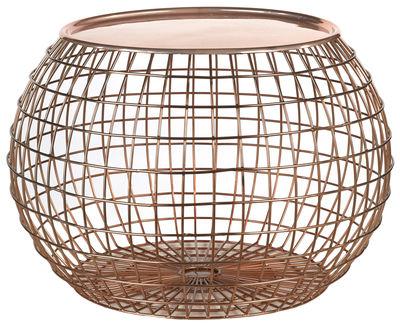 Ball Wire Couchtisch / abnehmbare Tischplatte - Ø 50 x H 32 cm - Pols Potten - Kupfer