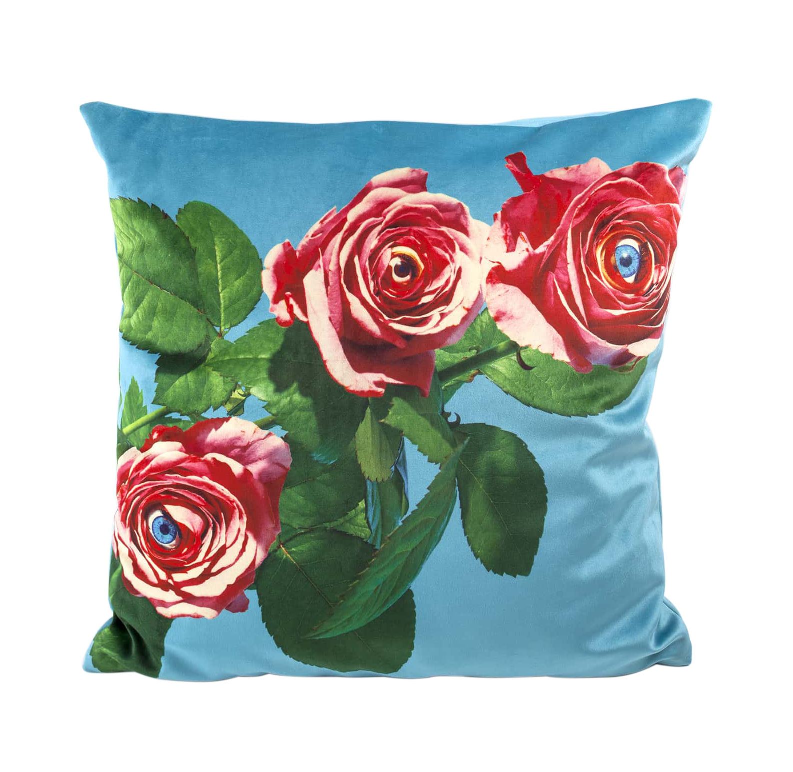 Decoration - Cushions & Poufs - Toiletpaper Cushion - / Roses - 50 x 50 cm by Seletti - Roses / Turquoise - Feathers, Polyester fabric
