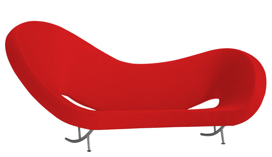 Arredamento - Divani moderni - Divano destro Victoria and Albert - Modello 2 di Moroso - Tessuto rosso - Sinistro - Acciaio cromato