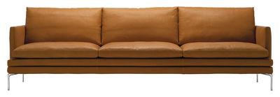 Arredamento - Divani moderni - Divano destro William - / Cuoio - 3 posti - L 266 cm di Zanotta - Marrone chiaro Gold - Alluminio lucido, Pelle