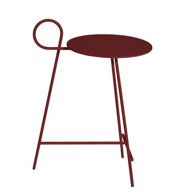 Furniture - Coffee Tables - Carmina End table - / Ø 30 x H 57 cm by Driade - Burgundy - Epoxy aluminium, Steel