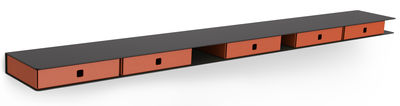 Etagère Alizé / 4 tiroirs - L 120 cm - Matière Grise orange,anthracite en métal