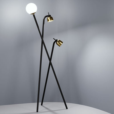 Lighting - Floor lamps - Tripod Floor lamp - / LED - H 173 cm by Fontana Arte - Black & Brass - Brass, Glass, Painted metal