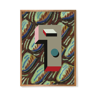 Decoration - Wallpaper & Wall Stickers - Nathalie du Pasquier - Mars 1937 Framed poster - / Limited, numbered edition - 52,4 x 72,4 cm by The Wrong Shop - March 1937 / Multicoloured & oak frame - Oak, Plexiglass, Premium paper