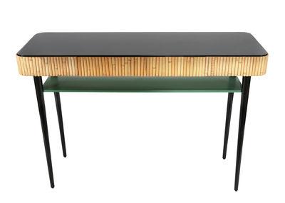 Möbel - Konsole - Riviera Konsole / Rattan - mit Schublade - Maison Sarah Lavoine - Schwarz & grün / Rattan, natur - lackiertes Holz, Rattan, natur