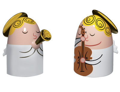 Dekoration - Dekorationsartikel - Angels band Krippenfigur Set aus 2 Figuren - Gitarrist & Trompeter - A di Alessi - mehrfarbig - Porzellan