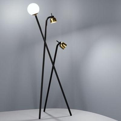 Illuminazione - Lampade da terra - Lampada a stelo Tripod - / LED - H 173 cm di Fontana Arte - Nero & Ottone - metallo verniciato, Ottone, Vetro