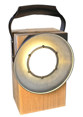 Block lampada senza fili led quercia manico cuoio - Lampada da tavolo senza fili ...