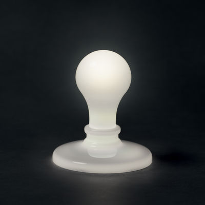 Lampe de table Light Bulb LED - White / By James Wines - Foscarini blanc en verre