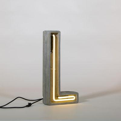 Lampe de table Néon Alphacrete / Lettre L - Intérieur / extérieur - Seletti blanc,gris en pierre