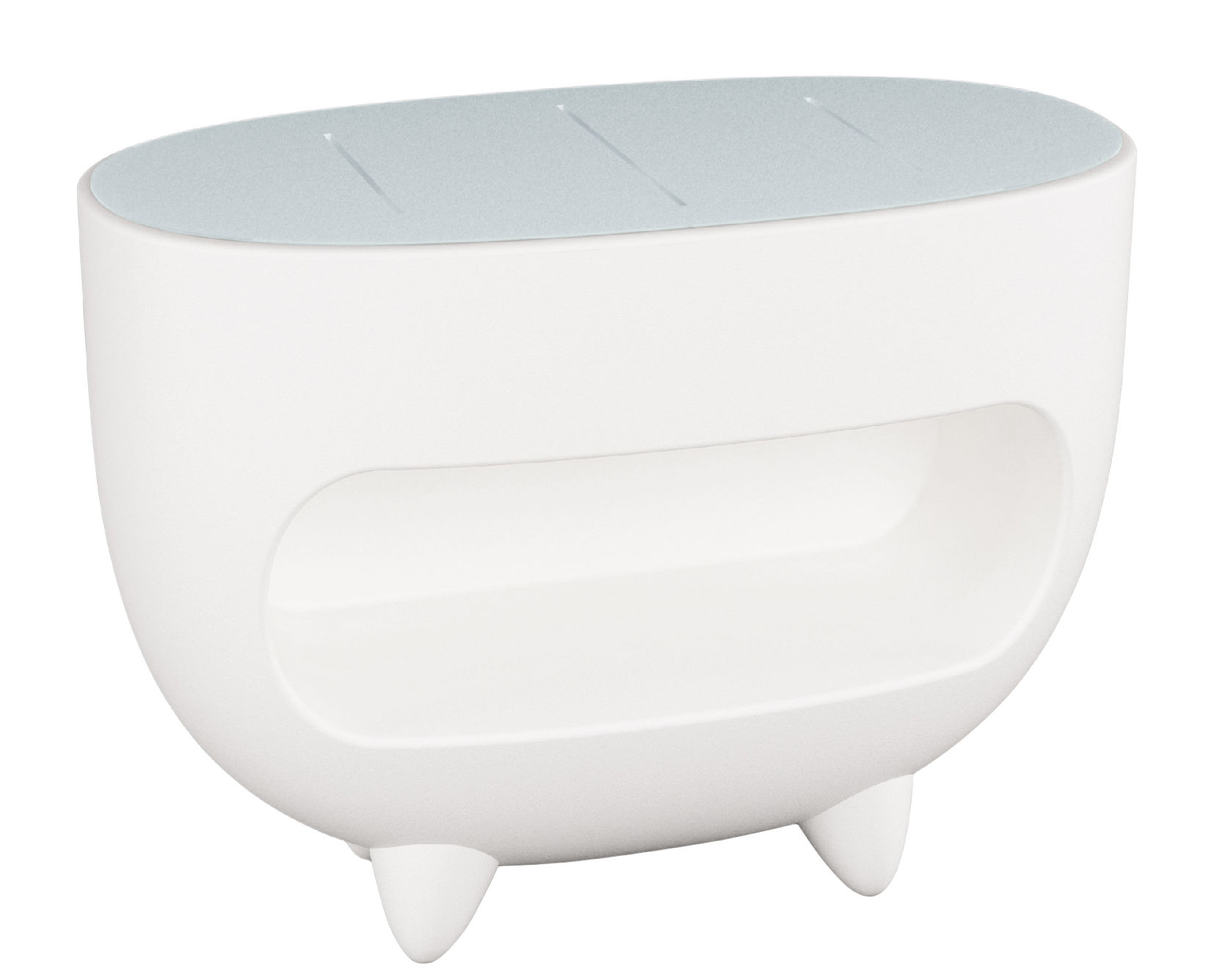 Furniture - Illuminated Furniture & Light UP Tables - Splay Luminous counter by Slide - White - Recyclable polyethylene, Soak glass
