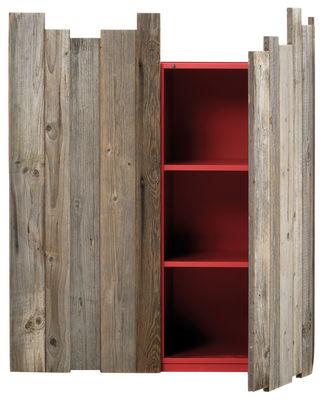 Arredamento - Contenitori, Credenze... - Portaoggetti Zio Tom - / 2 porte - L 110 x H 133 cm di Mogg - Legno / Interno rosso - Larice