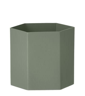 Pot de fleurs Hexagon Large / Ø 13.5 cm x H 12 cm - Ferm Living vert ancien en métal