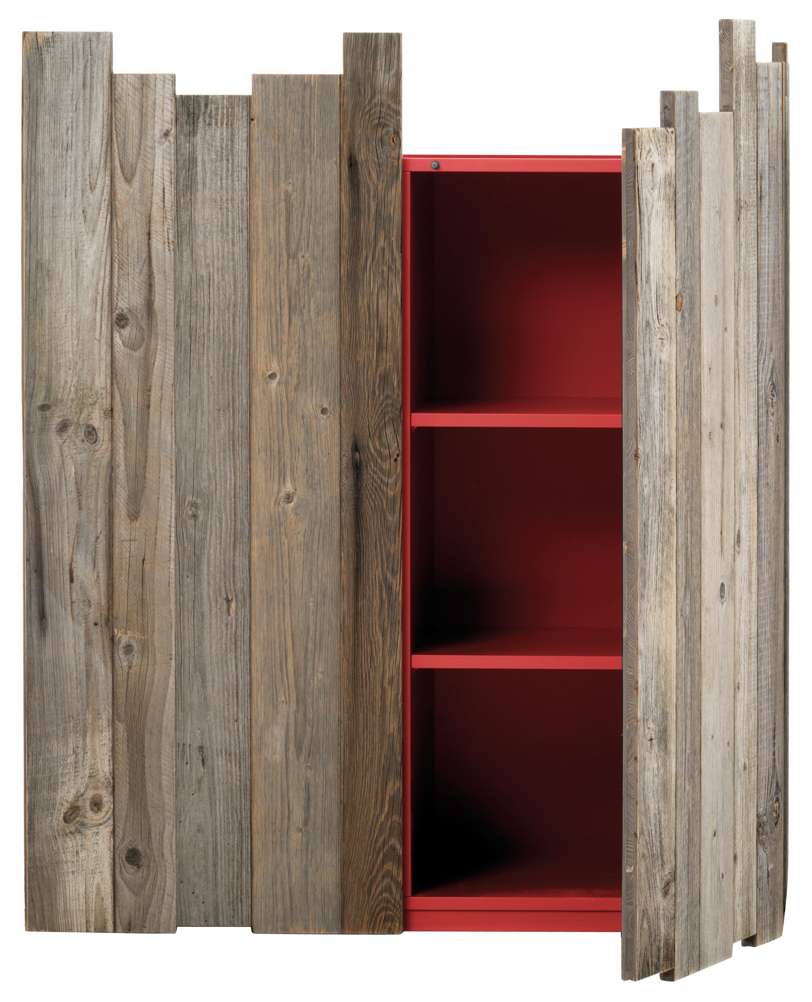Mobilier - Commodes, buffets & armoires - Rangement Zio Tom / 2 portes - L 110 x H 133 cm - Mogg - Bois / Intérieur rouge - Mélèze
