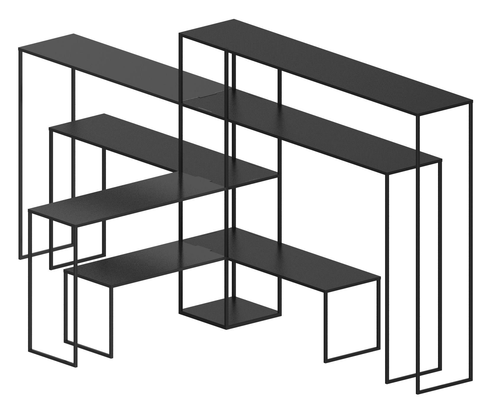 Möbel - Regale und Bücherregale - Easy Bridge Regal / 7 modulare Ablagen  - H 141 cm - Zeus - Schwarzbraun - bemalter Stahl
