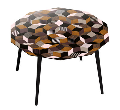 Furniture - Dining Tables - Penrose Fancywood Round table - 116 x 120 cm x H 75 cm - Exclusivity by Bazar Therapy  pour Made in design  - Fancy pattern / Pink, taupe, wood - Beechwood, Stratified