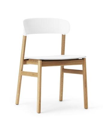Arredamento - Sedie  - Sedia Herit - / Gambe rovere di Normann Copenhagen - Bianco / Rovere - Polipropilene, Rovere