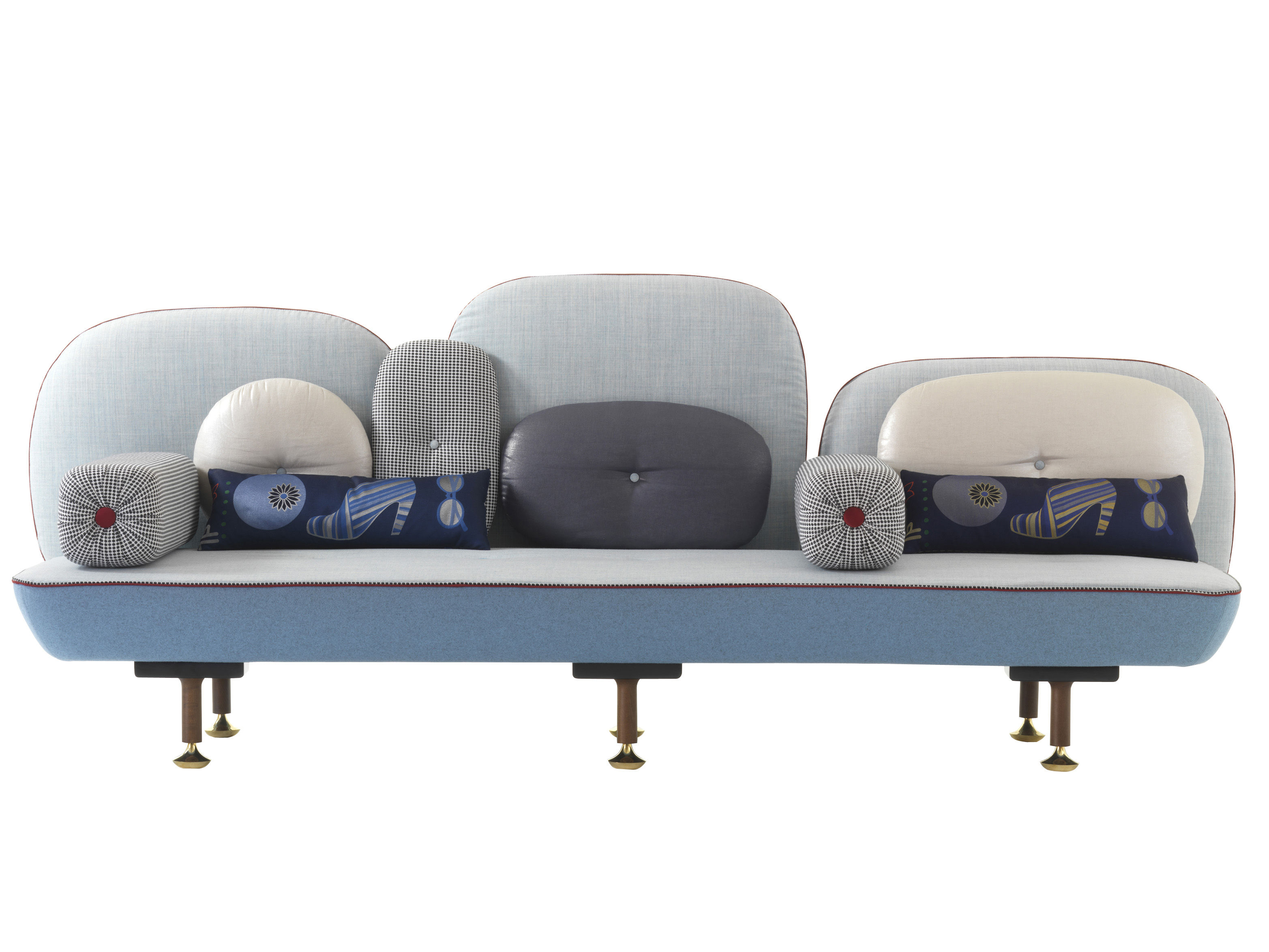 Möbel - Sofas - My Beautiful Backside Sofa L 261 cm - Moroso - Helles Blau - Metall, Nussbaum, Wolle