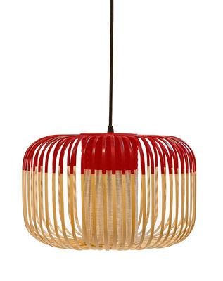 Image of Sospensione Bamboo Light S - / H 23 x Ø 35 cm di Forestier - Rosso/Legno naturale - Metallo/Tessuto/Legno