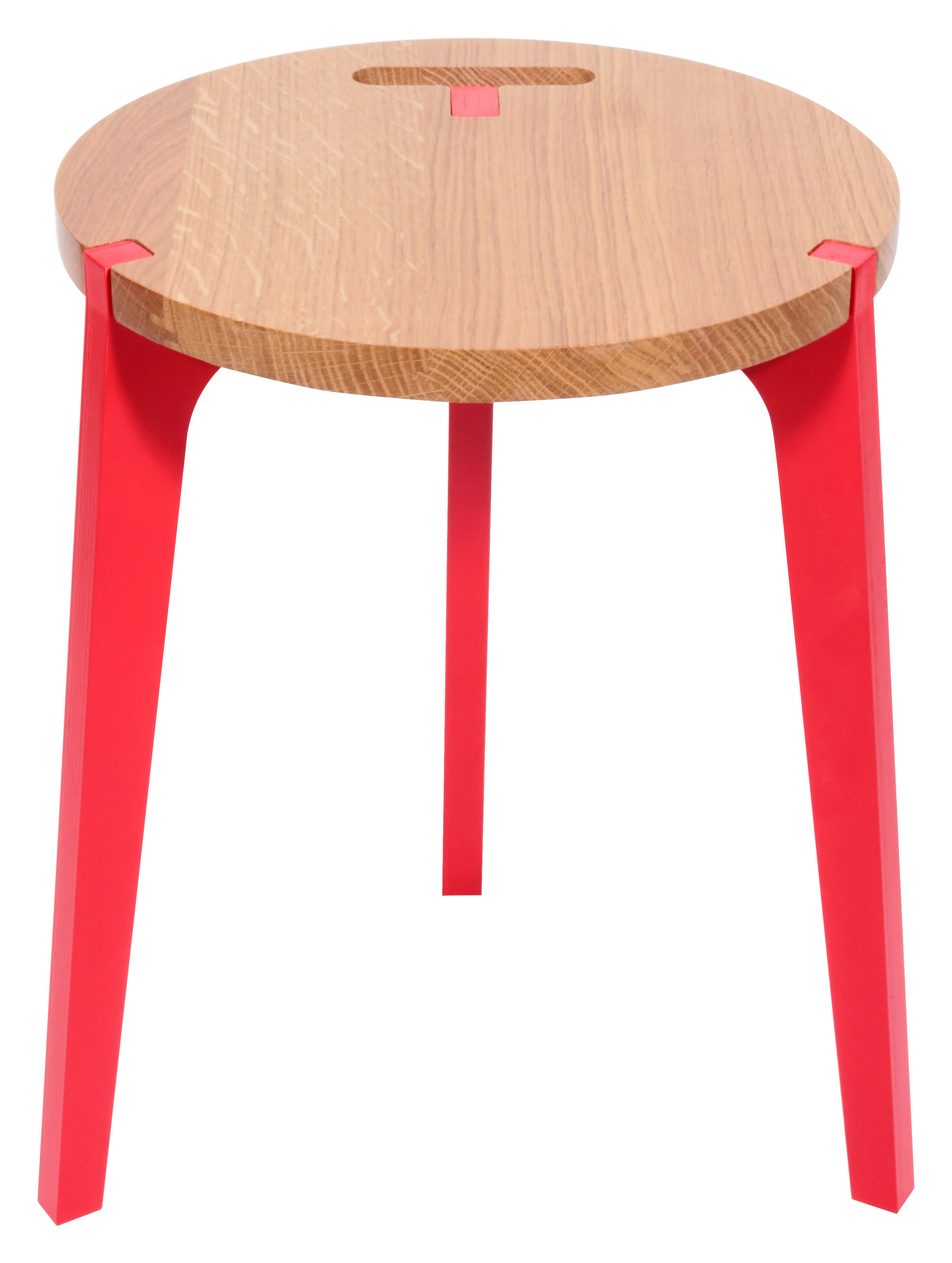 Furniture - Stools - Canne Stool by La Corbeille - Natural oak - Red - Natural oak