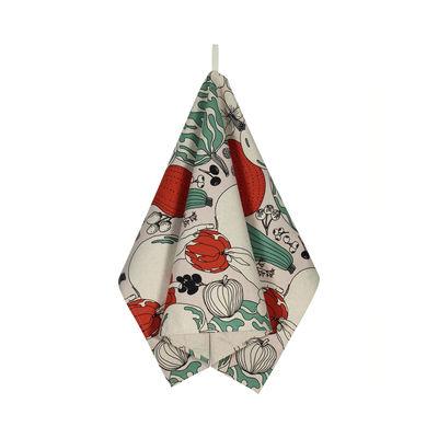 Cucina - Grembiuli e Strofinacci - Strofinaccio Vihannesmaa - / 47 x 70 cm di Marimekko - Vihannesmaa / Rosso, verde - Cotone, Lino