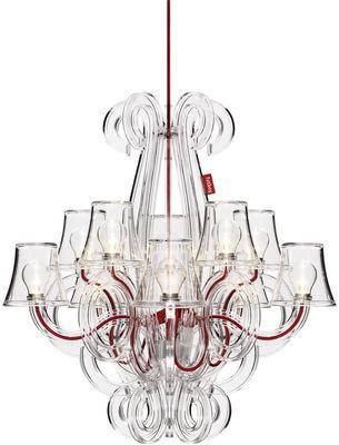 Luminaire - Suspensions - Suspension RockCoco / Pour l'intérieur & l'extérieur - Fatboy - Transparent / Fil rouge - Polycarbonate