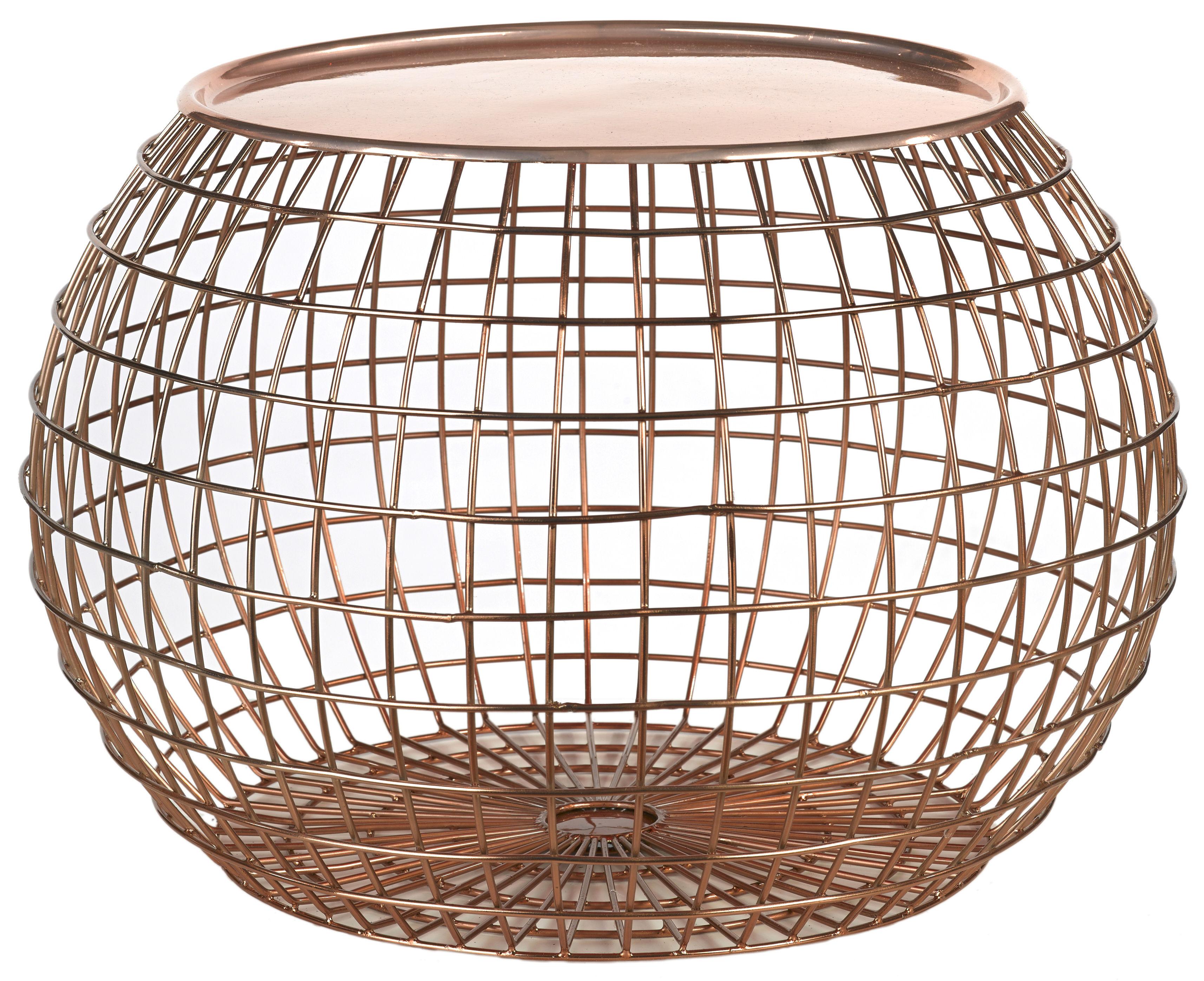 Mobilier - Tables basses - Table basse Ball Wire / Plateau amovible -  Ø 50 x H 32cm - Pols Potten - Cuivre - Fer peint, Fil de fer peint