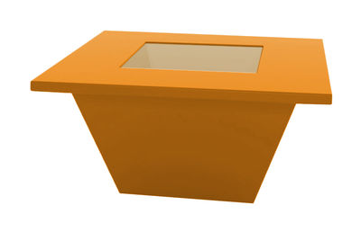 Table basse Bench / Plateau en verre - Slide orange en verre